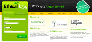 Ethical Jobs homepage - our previous work