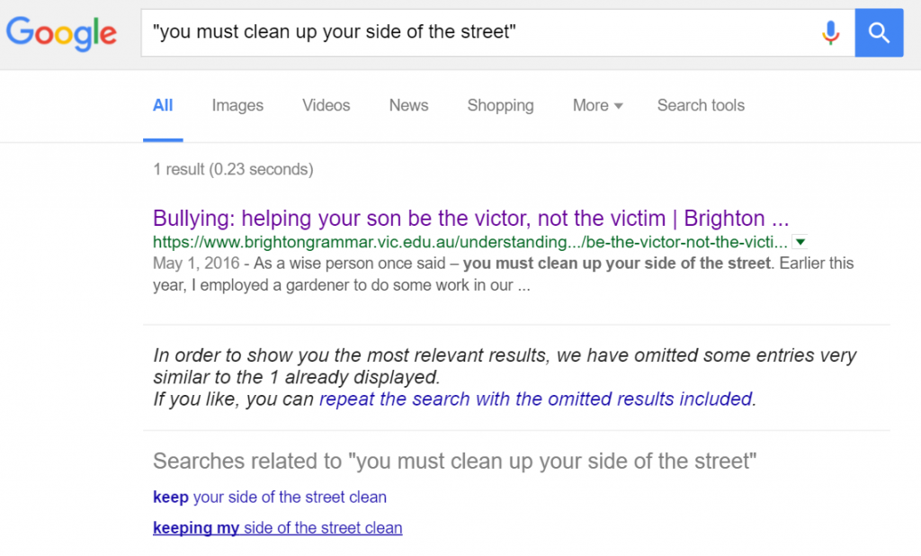 Google clean up your side of the street
